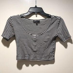 Topshop Black&White Striped Crop Top *firm price*